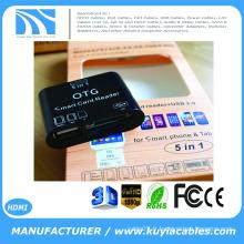 Marque Nouveau Lecteur de carte SD 5 in 1 OTG Micro USB 2.0 pour Samsung Galaxy S3 S4 Smartphone