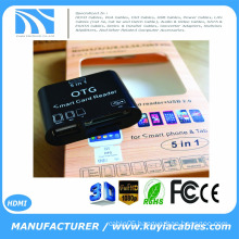 Brand New 5 in 1 OTG Micro USB 2.0 SD Card Reader for Samsung Galaxy S3 S4 Smartphone