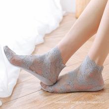 Breathable Transparent Shiny Star Moon Thin Socks Women Tulle Socks
