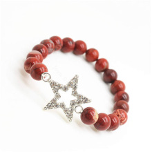 Red Jasper 8MM Round Beads Stretch Gemstone Bracelet with Diamante alloy star Piece