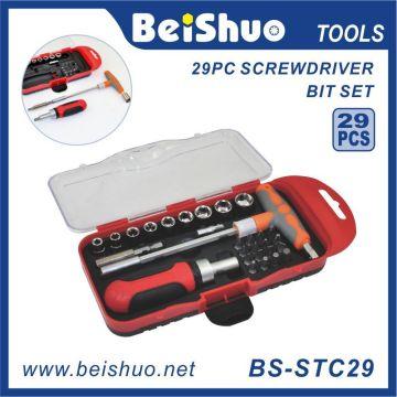 29 PCS Cr-V6150 T-Bar Ratchet Screwdriver Bit Set