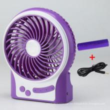 Mini ventilador portátil de carga USB con 3 niveles de exceso de velocidad de viento-púrpura