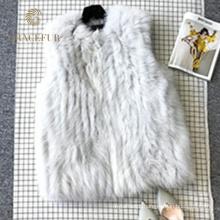 Garantia de qualidade real raposa mangas colete de pele de mulher sem mangas