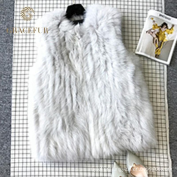 Quality assurance real fox Sleeveless knitted woman fur vest