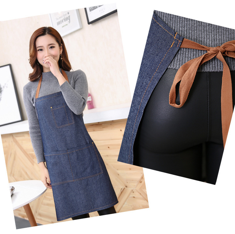 Denim apron hanging neck blue denim custom LOGO (5)