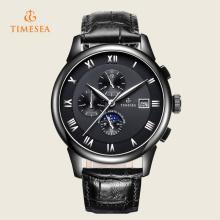 Luxuoso homens automático safira preto relógio de aço inoxidável 72238