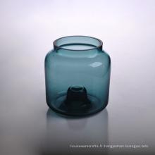 Récipient à bougies en verre coloré coulé