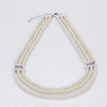 3 Strand Wit Faux Parel Ketting