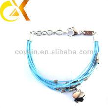 Joyería de acero inoxidable delicada pulsera de cuero azul custom jewelry china