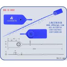 etiqueta plástica BG-S-002 do selo para o uso da segurança, selo do saco de plástico
