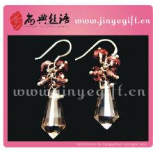 Einzigartige handgefertigte lila Kristall Square Drop Ohrring Ohrringe
