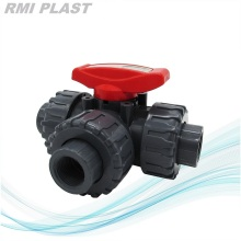 PPH Ball Valve Three Way T Port Socket Fusion