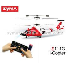 SYMA S111G helicóptero de simulação infravermelho, helicóptero de brinquedo controlado pelo iPhone