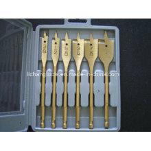 6PCS Tin Coated Flat Bits Set with Plastic Box