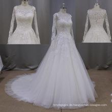 Neue Ankunft Langarm Lace Brautkleid a-Linie Brautkleider
