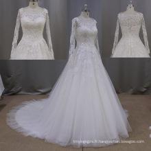 Nouvelle arrivée manches longues dentelle robe de mariée Robes de mariée a-ligne