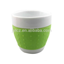 Cappuccino de la taza de forma de vientre 220cc con banda de silicona