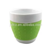 Tasse de cappuccino de tasse de forme du ventre 220cc avec la bande de silicone