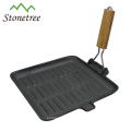 Pre-seasoned Cast Iron Grill Pan with Removable Handle