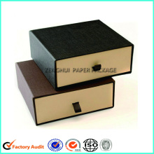 Black Paper Drawer Box With Ribbon Handle