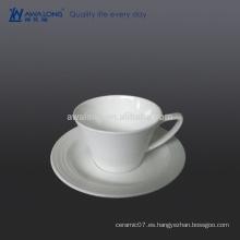 Fine Bone China 280ml taza de café y platillo, tazas blancas para el café y la leche