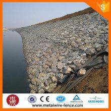 Revestido de PVC e galvanizado gabião em malha de arame de aço para a construção do rio