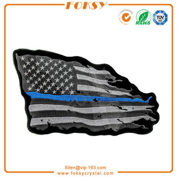 Linha azul fina American Tattered Flag Large Back Patch