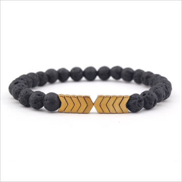 Black lava volcanic stone arrow fashion bracelet bracelet.