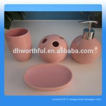 Vente en gros 4 pièces d'accessoires de salle de bains en céramique d'hôtel en haute qualité