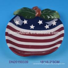 Americano, bandeira, desenho, cerâmico, tigela
