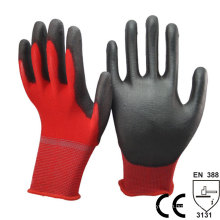 NMSAFETY 13 gauge red liner garden working safety pu gloves