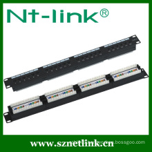 1U 180 degree 24 port utp patch panel cat5e