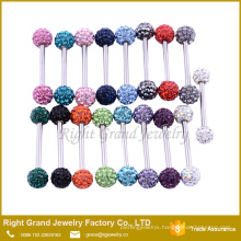 Wholesale High Quality stainless steel Rhinestone Crystal Ball tongue ring