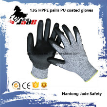 13G Black PU Coated Industrial Gloves Level Grade 3 and 5