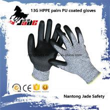 13 г черный ПУ покрытием промышленные перчатки уровня 3 и 5