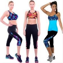 2015 novo projetado mulheres treino impresso calças cortadas (56120)
