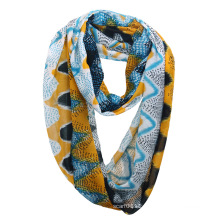 Lady Fashion Grid Printed Polyester Chiffon Summer Infinity Scarf (YKY1105)