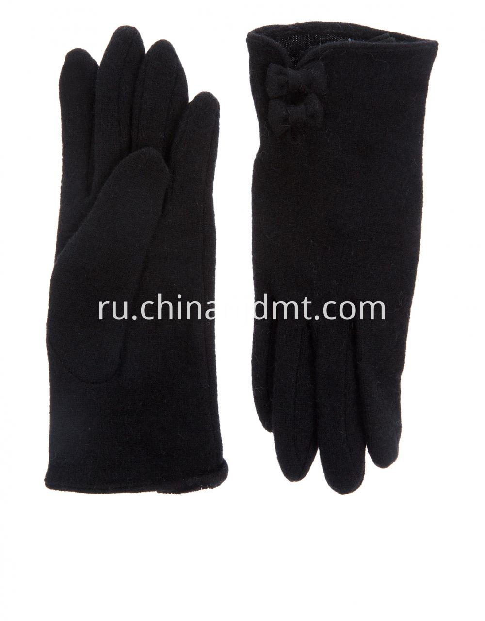 Wool Smart Glove With Bows Gloves Blk