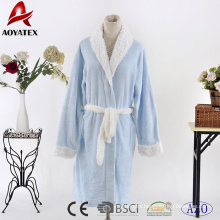 New design cuff sleeve above knee blue white contrast women flannel fleece bathrobe