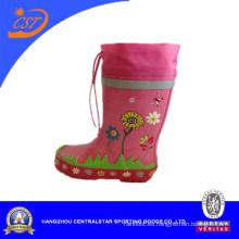 Botas de lluvia con cordones rosadas Tiger Print para niña