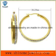 Jóias Shineme Jóias de aço inoxidável Prata brinco de ouro (ERS6895)