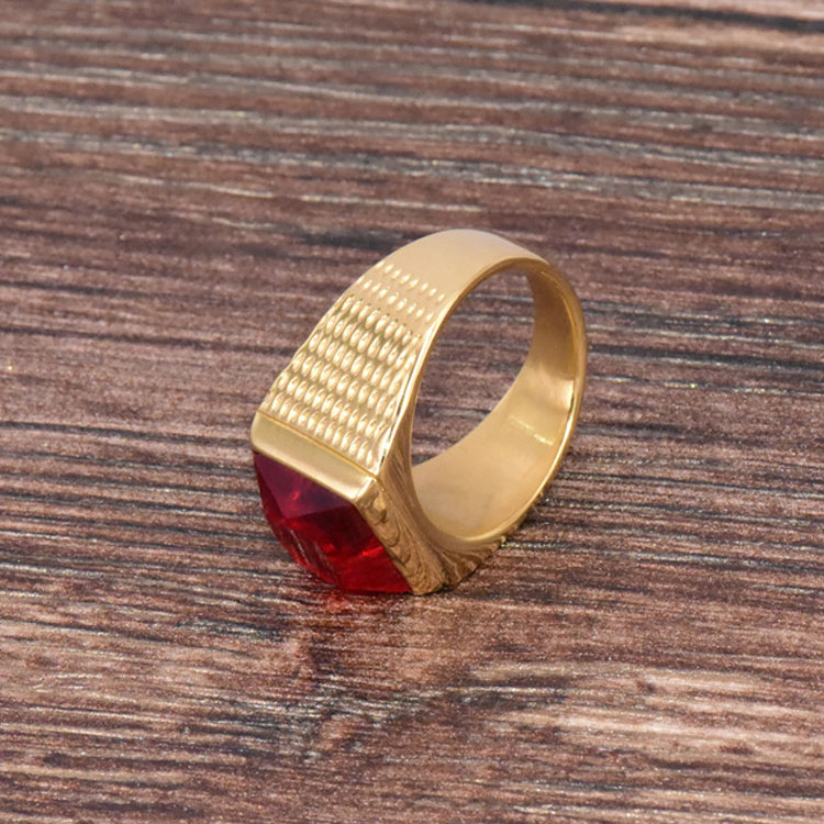 Gold Ring With Red Stone