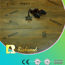 Commrcial 8.3mm Pearl Walnut V-Grooved Waxed Edged Laminate Floor