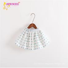 Saias curtas elásticas da cintura do bebé da fabricação com vestido alinhado
