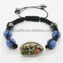 2013 pulseras tejidas de las bolas cristalinas amarillas de la manera 10MM con la piedra preciosa afortunada del árbol de la viruta de Unakite