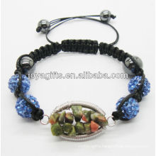 2013 fashion 10MM Yellow Crystal balls woven bracelet with Unakite chip lucky tree gemstone