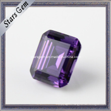 Amethyst Color Emerald Cut Precious Cubic Zirconia Gems
