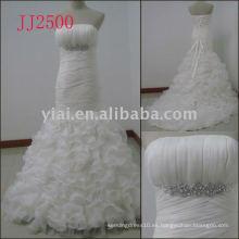 JJ2500 nuevos vestidos de boda cristalinos del organza de la sirena de la llegada 2011