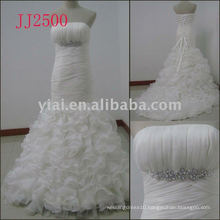 JJ2500 new arrival crystal mermaid organza wedding gowns 2011
