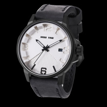 Big face genuine leather strap black men watch